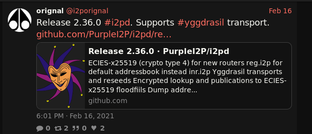 Release 2.36.0 #i2pd. Supports #yggdrasil transport.